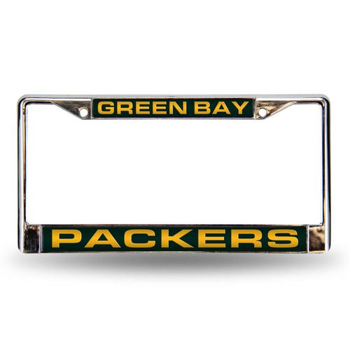 Green Bay Packers Laser Cut Chrome License Plate Frame (Silver)