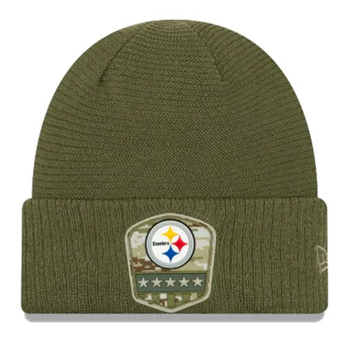 New Era Pittsburgh Steelers On Field 2019 Salute To Service Knit Hat (Olive)
