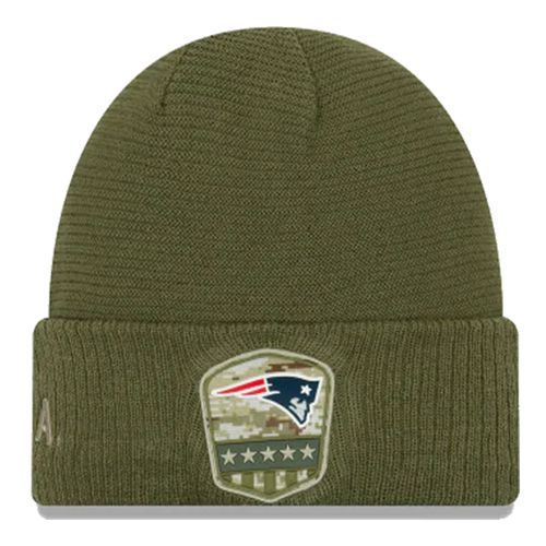 New Era New England Patriots On Field 2019 Salute To Service Knit Hat (Olive)
