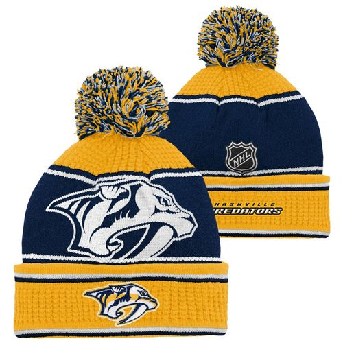 Youth Nashville Predators Grinder Cuff Pom Knit Hat (Navy/Gold)