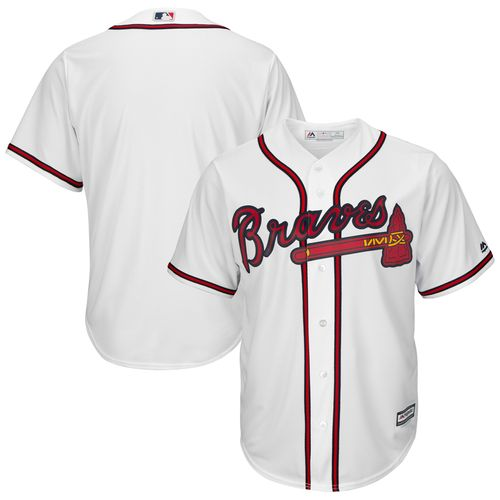 Men's Majestic Atlanta Braves Tall Home Replica Jersey (White)
