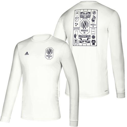 Men's Adidas Nashville Soccer Club Isn't It Iconic Long Sleeve Shirt (White)