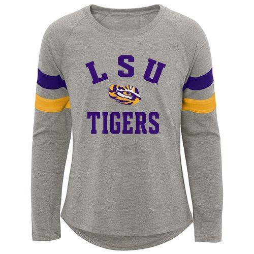 Girl's LSU Tigers Half Team Long Sleeve Shirt (Dark Heather)