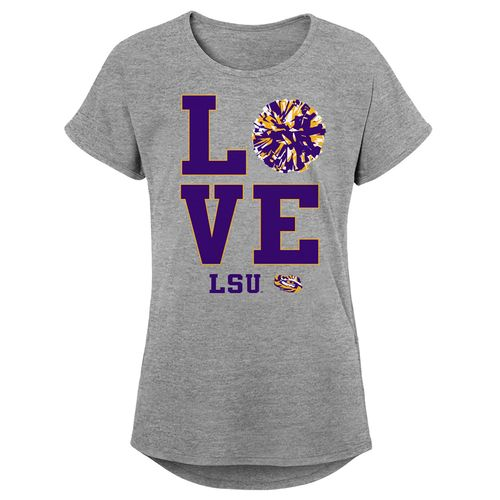 Girl's LSU Tigers Pom Pom T-Shirt (Heather)