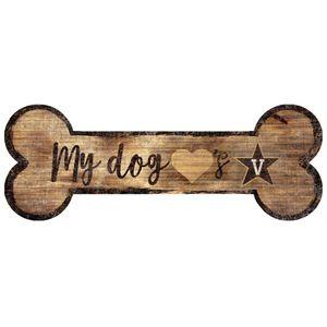 Vanderbilt Commodores Dog Bone Wood Sign