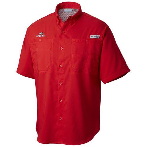 Men's Columbia Georgia Bulldogs Tamiami Button-Up Shirt (Red)