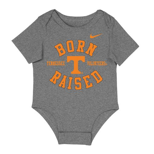 Infant Tennessee Volunteers Born N Raised Onesie (Dark Grey)