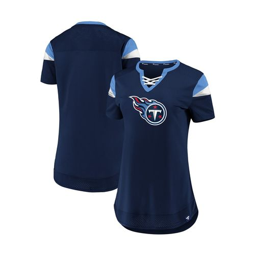Women's Tennessee Titans Draft Me Lace-Up Jersey Tee (Navy)