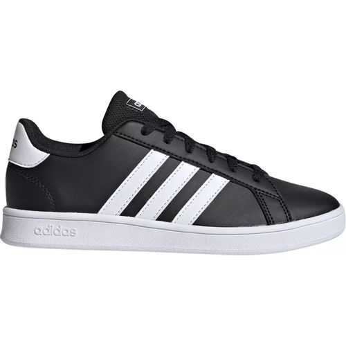 Grade School Adidas Grand Court Wide (Black/White)
