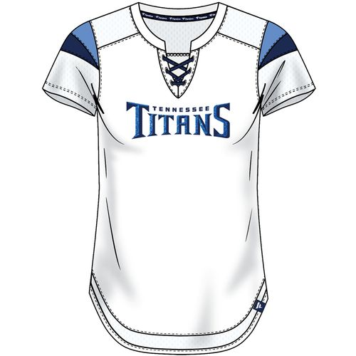 Women's Tennessee Titans Draft Me Lace-Up Jersey Tee (White)