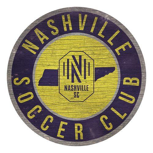 Nashville Soccer Club Circle Wood Sign