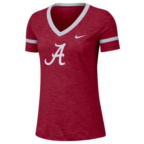 Women's Nike Alabama Crimson Tide Slub V-Neck T-Shirt (Crimson/White)