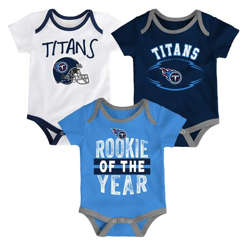 Infant Tennessee Titans Kick and Scream 3-Pack Onesie Set (Navy)