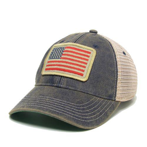 Legacy USA Flag Trucker Adjustable Hat (Navy/Mesh)