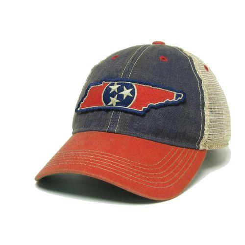 Tri-Star State Outline Trucker Adjustable Hat (Navy/Scarlet)