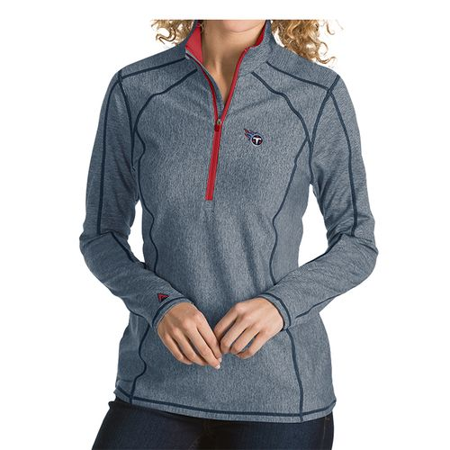 Women's Antigua Tennessee Titans Primary Logo Tempo 1/4 Zip Up (Navy/Red)