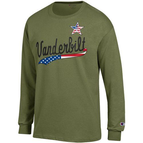 Men's Champion Vanderbilt Commodores Patriotic Jersey Long Sleeve Shirt (Olive)