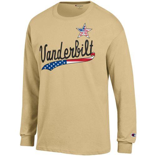 Men's Champion Vanderbilt Commodores Patriotic Jersey Long Sleeve Shirt (Gold)