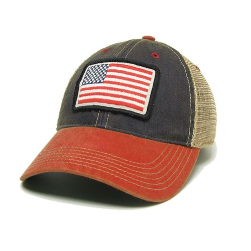 Legacy USA Flag Trucker Adjustable Hat (Red/Navy)