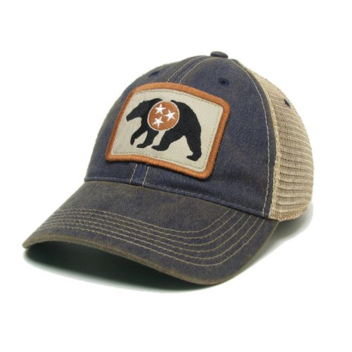 Legacy Trucker Bear Patch with Tri-Star Hat (Navy)
