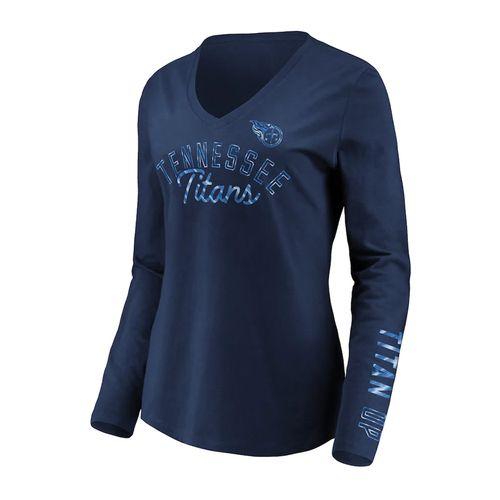 Women's Fanatics Tennessee Titans All Out Glitz V-Neck Long-Sleeve Shirt (Navy)
