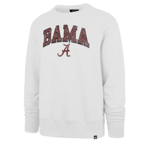 '47 Brand Men's Alabama Crimson Tide Arch Built Crew Fleece (White)