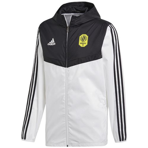 Men's Adidas Nashville Soccer Club Windbreaker (White/Black)