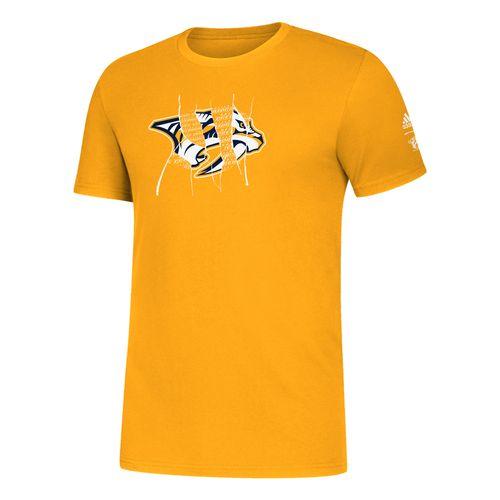 Men's Adidas Nashville Predators Ripped Logo T-Shirt (Gold)