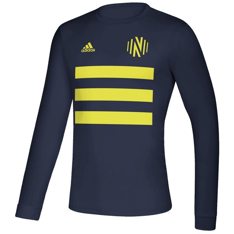 Men's Adidas Nashville Soccer Club Creator Striped Long Sleeve Shirt (Navy)