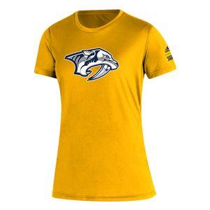 Women's Adidas Nashville Predators Reverse Retro T-Shirt (Gold)