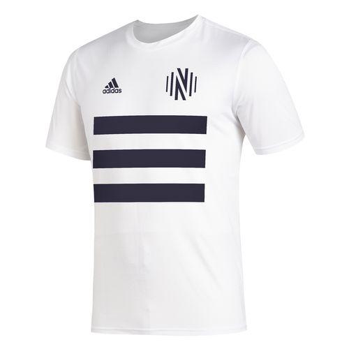 Men's Adidas Nashville Soccer Club 3-Stripe T-Shirt (White)