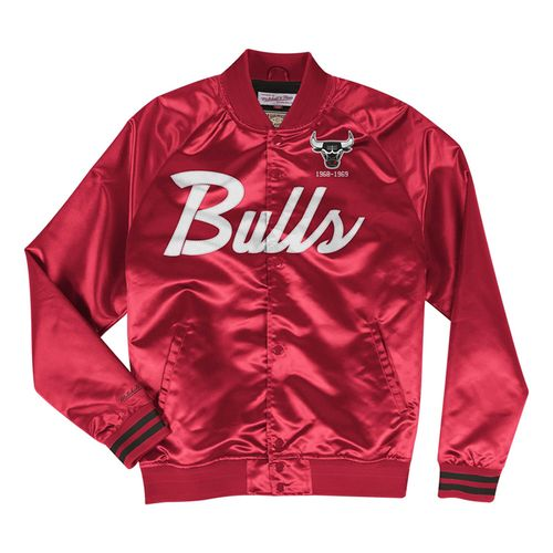 Men's Chicago Bulls Script Satin Jacket (Red)