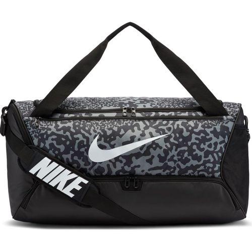 Nike Brasilia Medium Printed Training Duffel Bag (Black/Grey)