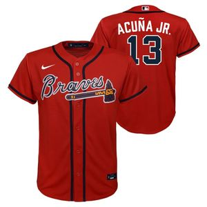 Youth Nike Atlanta Braves Ronald Acuna Jr. Alternate Replica Jersey (Red)