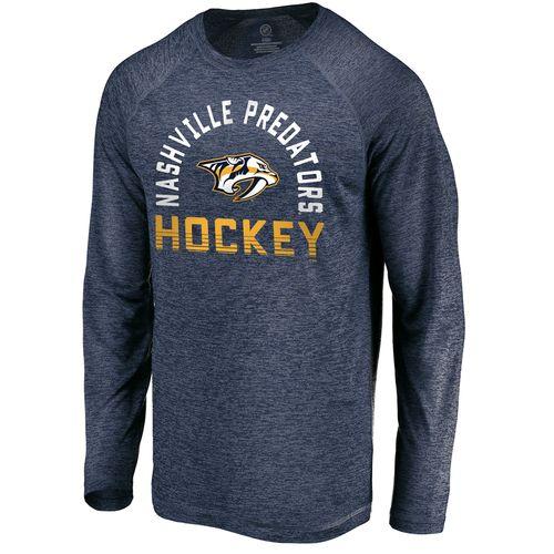 Men's Fanatics Nashville Predators Iconic Breezer Long Sleeve Shirt (Navy)