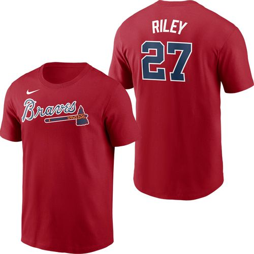 Men's Nike Atlanta Braves Austin Riley Name and Number T-Shirt (Red)