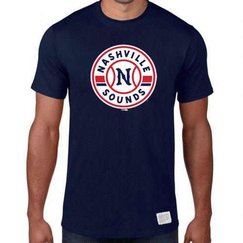 Men's Retro Brand Nashville Sounds Circle Logo Slub T-Shirt (Navy)