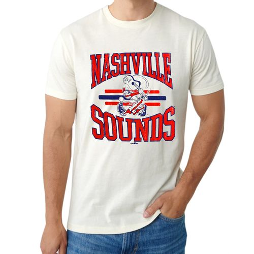 Men's Retro Brand Nashville Sounds Vintage Logo T-Shirt (Off White)