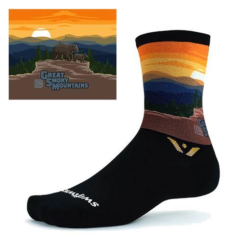 Swiftwick Vision Six Great Smoky Mountains Crew Sock(Black/Multi)
