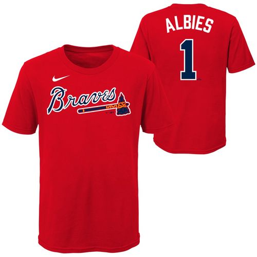 Youth Nike Atlanta Braves Ozzie Albies Name and Number T-Shirt (Red)