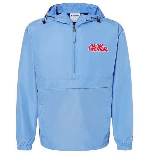 Men's Champion Ole Miss Rebels Packable Jacket (Light Blue)