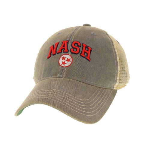Legacy Nashville Arch Tri-Star Trucker Adjustable Hat (Grey/Red)