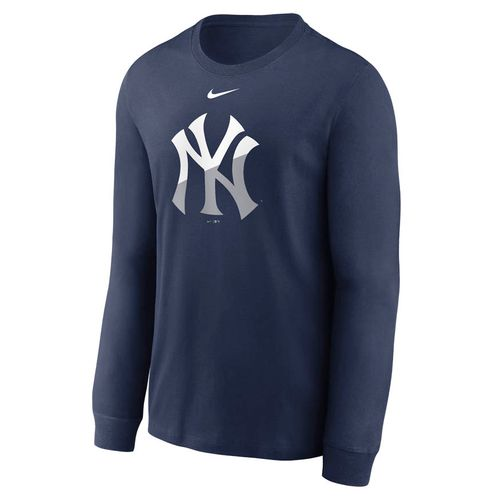 Men's Nike New York Yankees Angle Logo Long Sleeve Shirt (Navy)